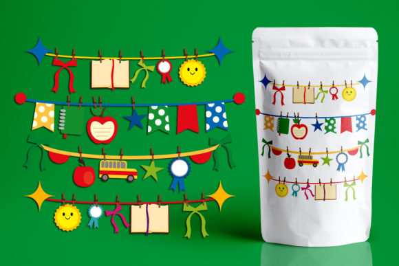 Print on Demand: Back to School Bunting Banners Graphic Illustrations By Revidevi