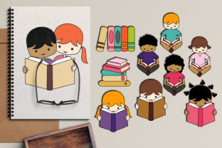 Back to School Kids Reading Graphic By Revidevi