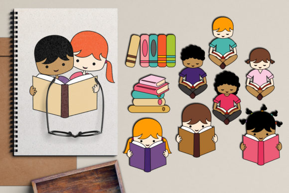 Download Free Back To School Kids Reading Graphic By Revidevi Creative Fabrica for Cricut Explore, Silhouette and other cutting machines.