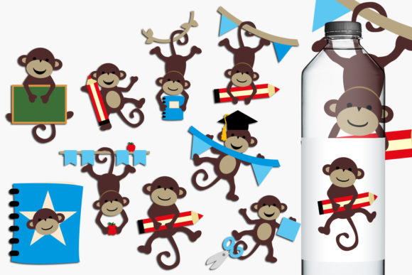 Print on Demand: Back to School Monkeys Graphic Illustrations By Revidevi