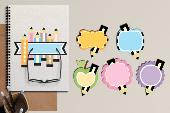 Print on Demand: Back to School Pencil Tags Graphic Illustrations By Revidevi