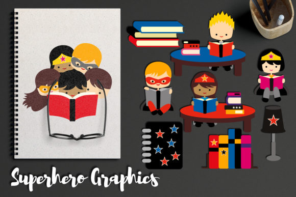 Download Free Back To School Superhero Reading Graphic By Revidevi Creative for Cricut Explore, Silhouette and other cutting machines.