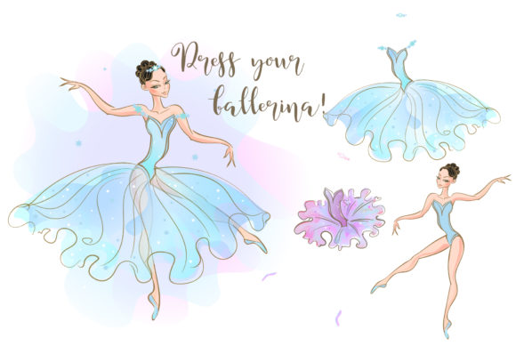 Ballerina Doll with a Set of Dresses Graphic Illustrations By grigaola