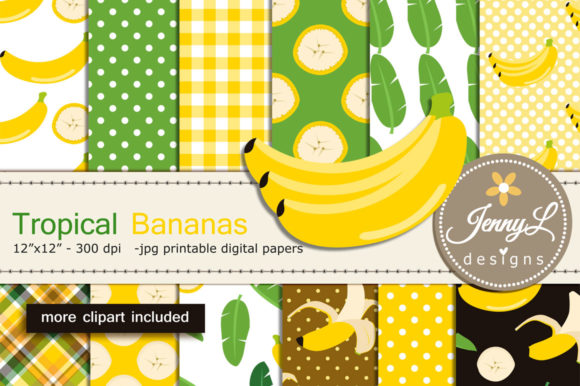 Banana Digital Papers and Clipart Graphic Patterns By jennyL_designs