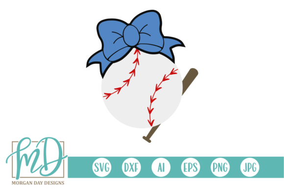 Download Free Baseball Bat And Bow Svg Graphic By Morgan Day Designs for Cricut Explore, Silhouette and other cutting machines.