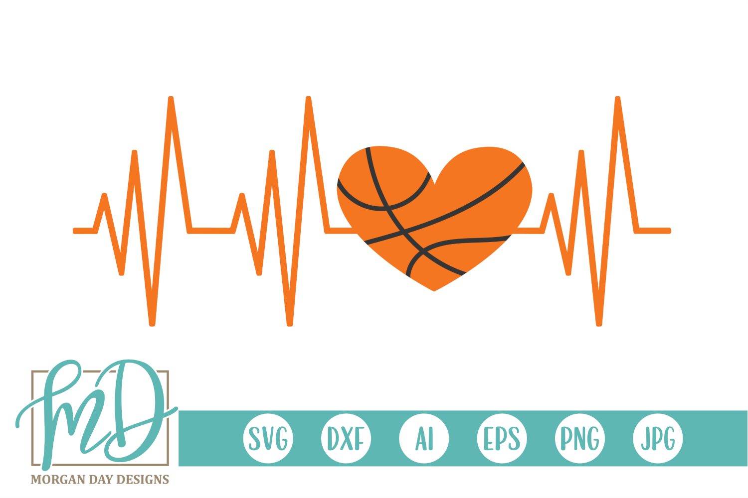 Download Free Basketball Heartbeat Graphic By Morgan Day Designs Creative for Cricut Explore, Silhouette and other cutting machines.