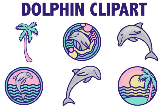 Print on Demand: Beach Dolphin Icons Graphic Illustrations By Mine Eyes Design