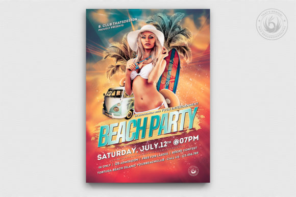 Beach Party Flyer Template V1 Graphic By ThatsDesignStore
