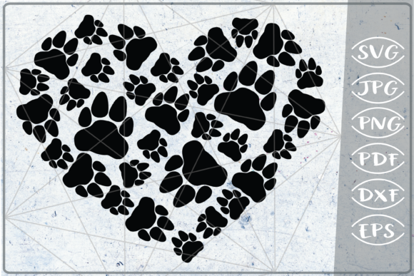 Download Free Bear Paws Print Heart Graphic By Cute Graphic Creative Fabrica for Cricut Explore, Silhouette and other cutting machines.
