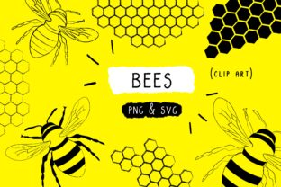 Print on Demand: Bee Clip Art, Honey Handmade Vector Graphic Icons By Inkclouddesign