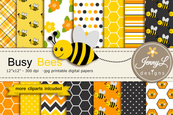 Bee Digital Papers and Clipart Graphic Backgrounds By jennyL_designs