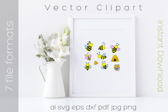 Download Free Bee Bumblebee Cartoon Bundle Graphic By Ibeartoo Creative Fabrica for Cricut Explore, Silhouette and other cutting machines.