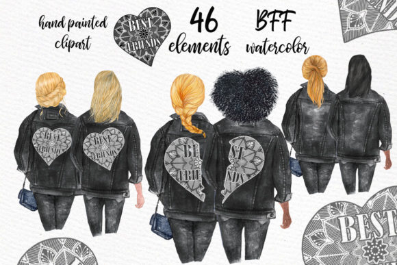 Best Friends Clipart Black Jackets Graphic Illustrations By LeCoqDesign