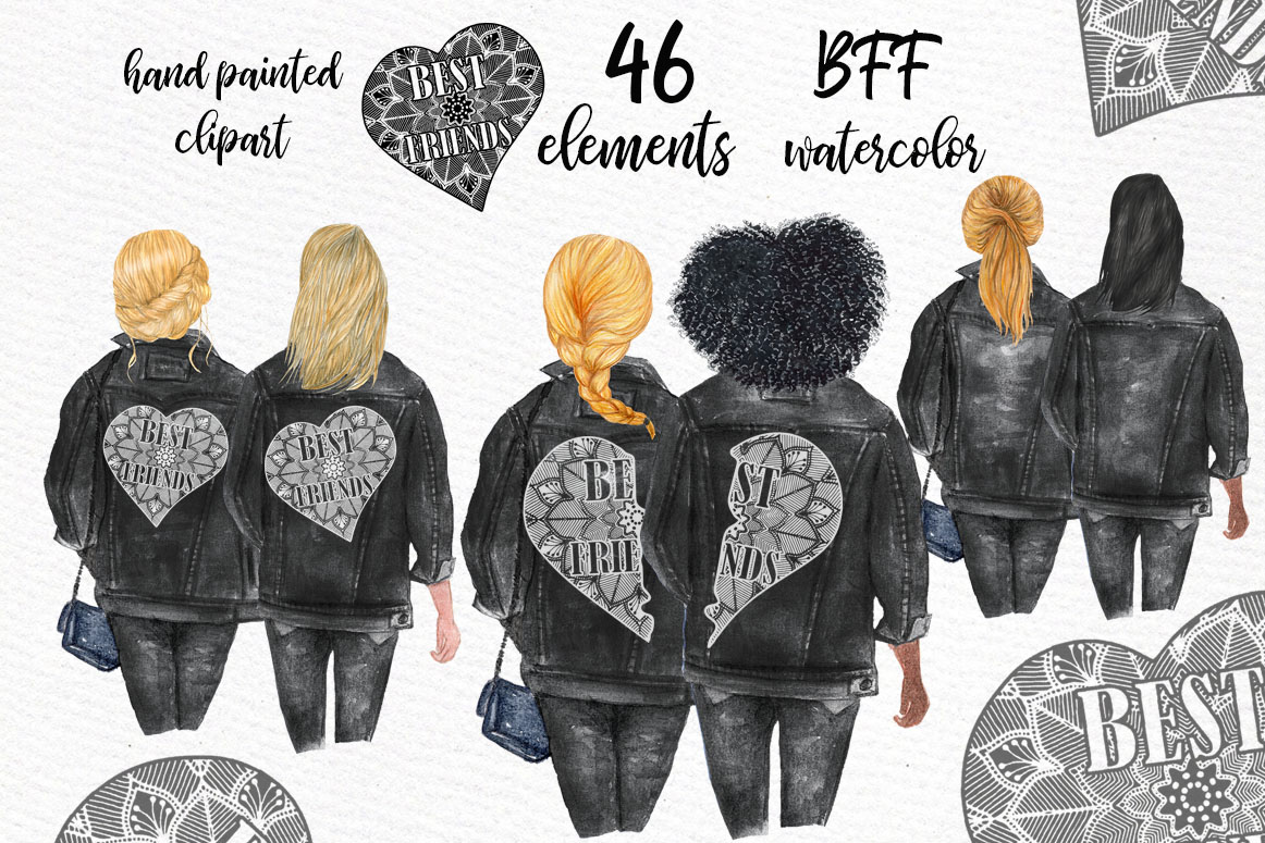 best friends clipart black jackets  graphic  by