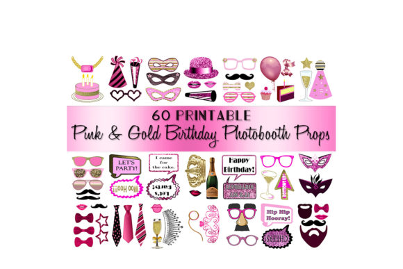 Birthday Photo Booth Props Pink Gold Graphic Crafts By DigitalPrintableMe