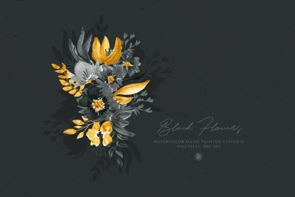 Black Flowers Graphic Illustrations By webvilla - Image 2