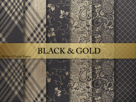Print on Demand: Black & Gold  Digital Paper Graphic Textures By Creative Paper