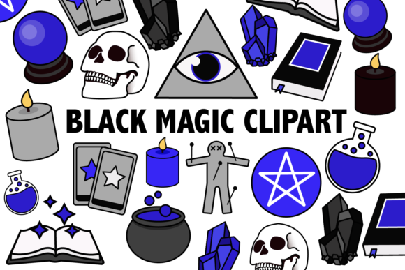 Print on Demand: Black Magic Clipart Graphic Illustrations By Mine Eyes Design - Image 1