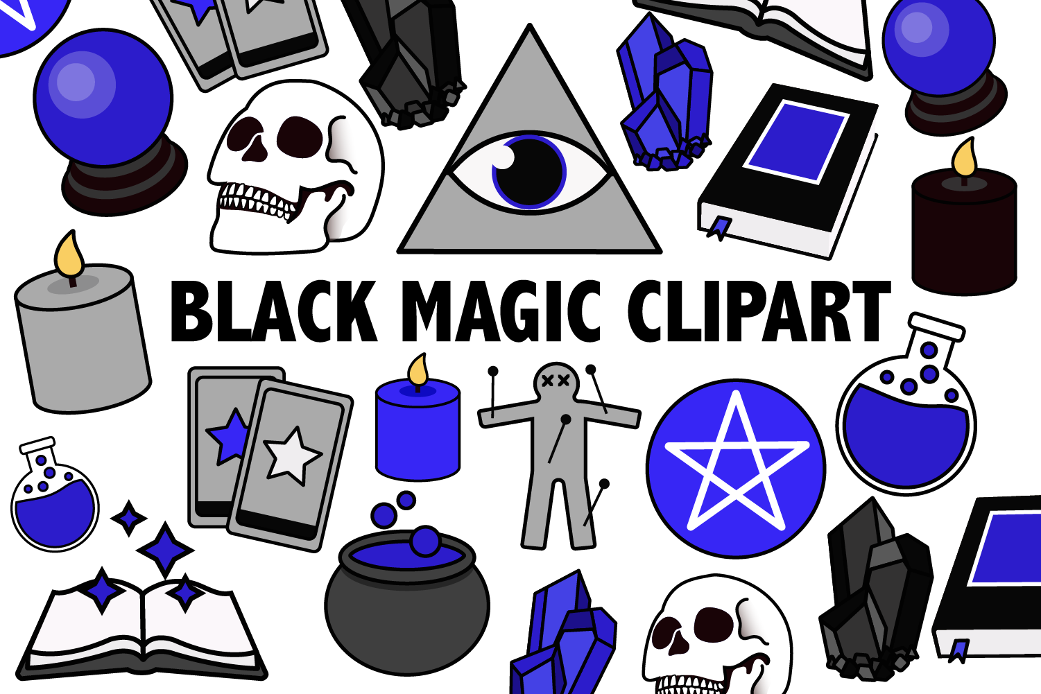 Download Free Black Magic Clipart Graphic By Mine Eyes Design Creative Fabrica for Cricut Explore, Silhouette and other cutting machines.
