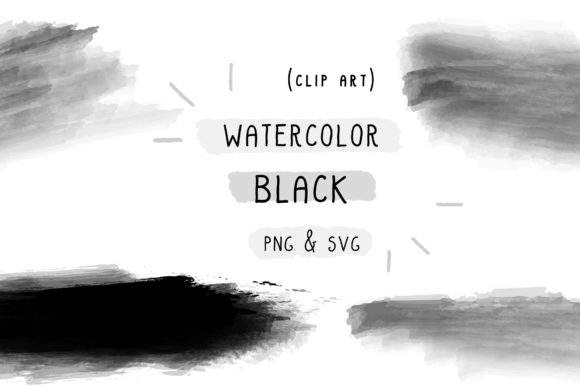 Download Free Black Watercolor Handmade Vector Graphic By Inkclouddesign for Cricut Explore, Silhouette and other cutting machines.