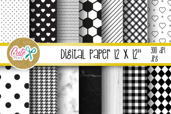 Black and White Digital Paper for Scrapbooking Graphic Textures By Cute files