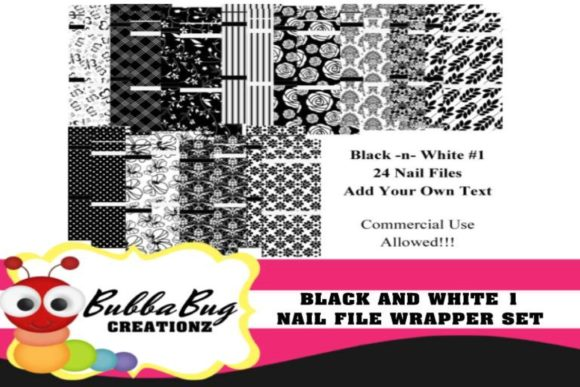 Black and White Nail File Wrappers Graphic Crafts By BUBBABUG