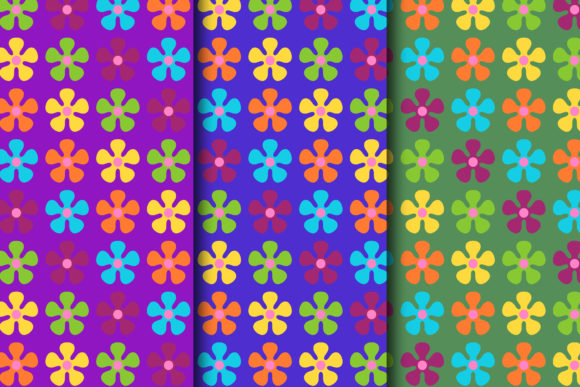 Download Free Blooming Flowers Retro Design Digital Paper Collection Graphic for Cricut Explore, Silhouette and other cutting machines.