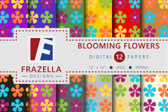 Blooming Flowers Retro Design Digital Paper Collection Graphic