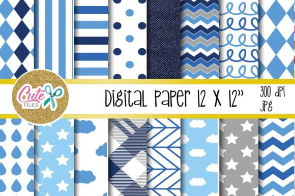 Blue Cloud Paper, Polka and Chevron Digital Paper Graphic Textures By Cute files