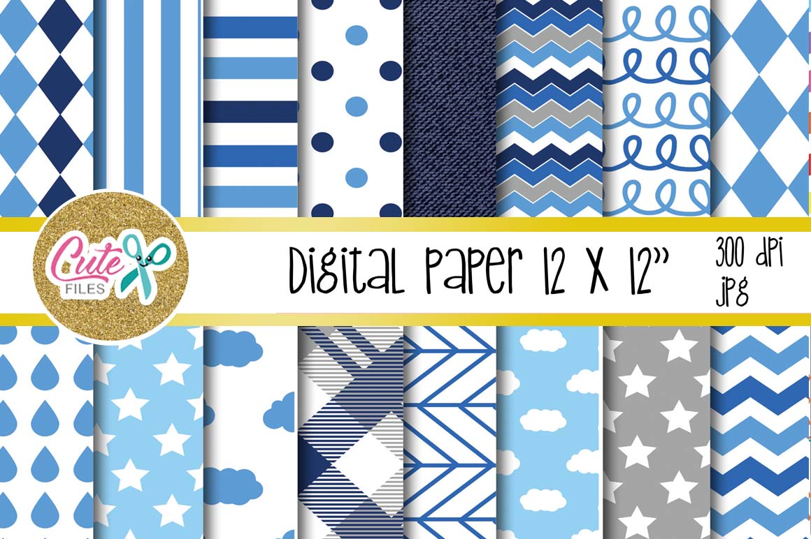 Download Free Blue Cloud Paper Polka And Chevron Digital Paper Graphic By for Cricut Explore, Silhouette and other cutting machines.