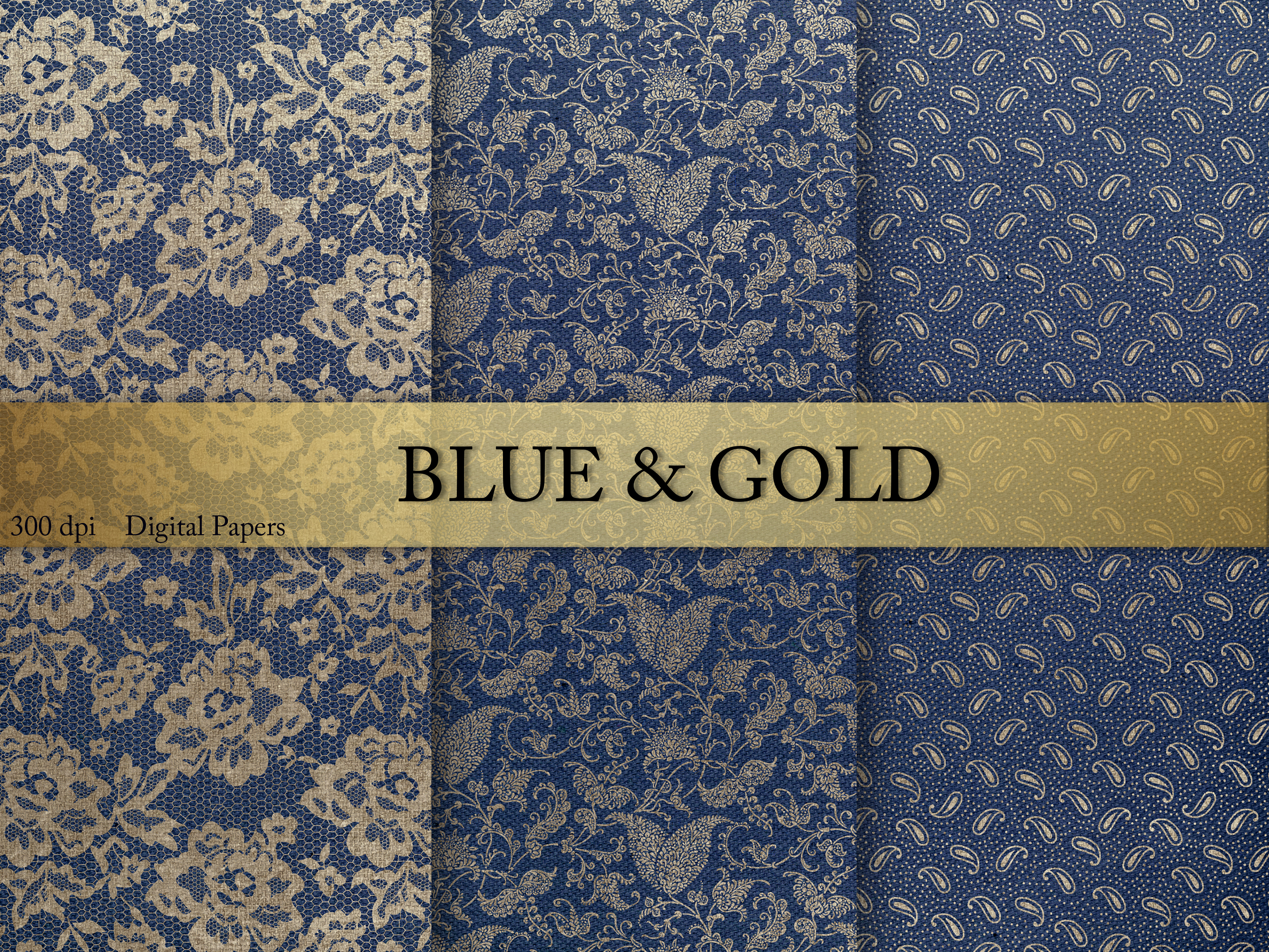 Blue Gold Digital Paper Graphic By Creative Paper Creative