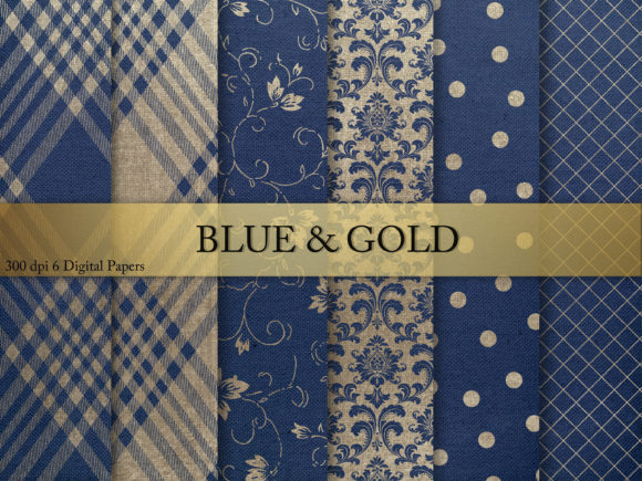 Print on Demand: Blue & Gold Digital Paper Grafik Texturen von Creative Paper