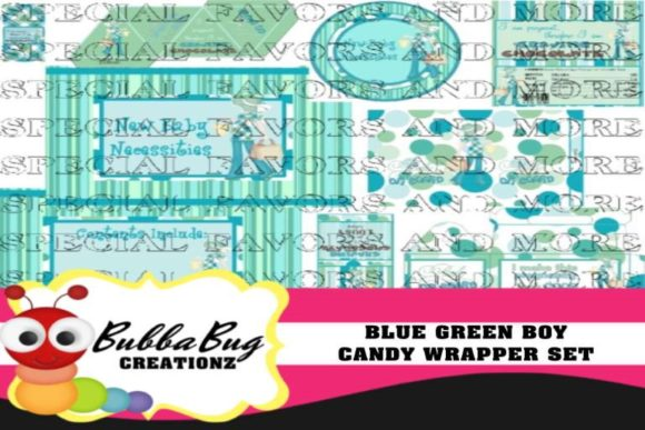 Blue Green Candy Wrapper Set Graphic Crafts By BUBBABUG