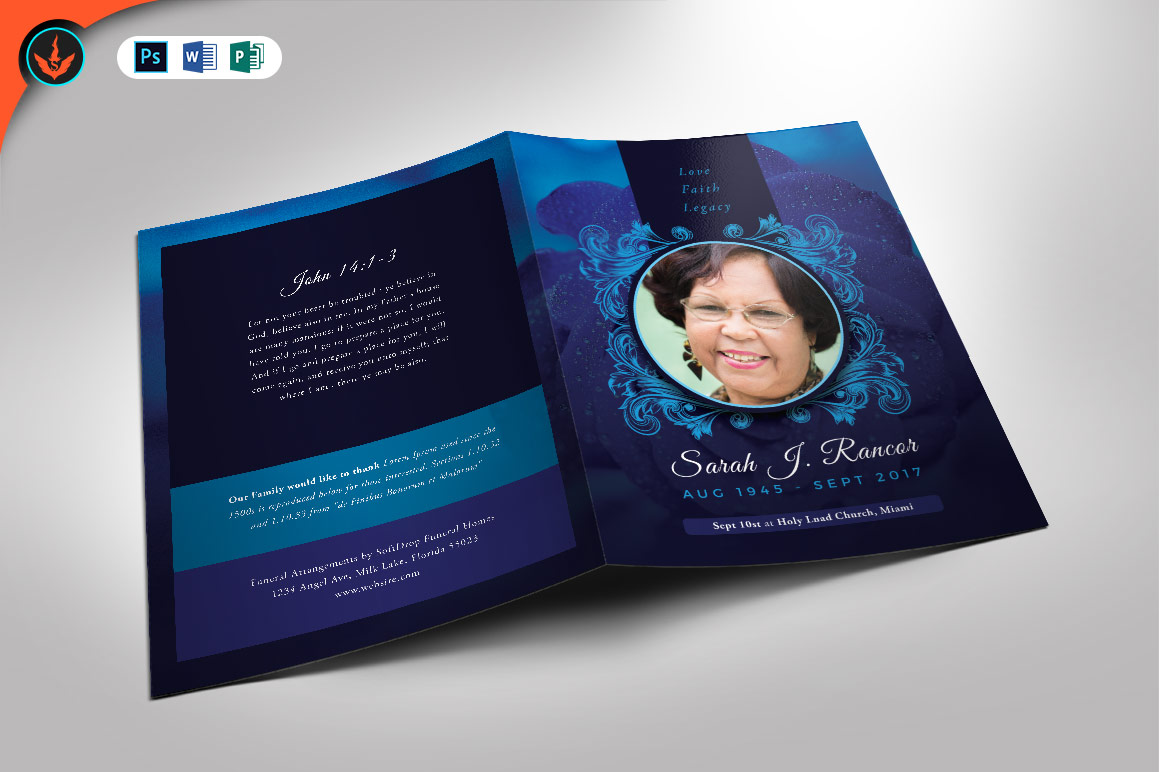 Download Free Blue Rose Funeral Program Template Graphic By Seraphimchris for Cricut Explore, Silhouette and other cutting machines.
