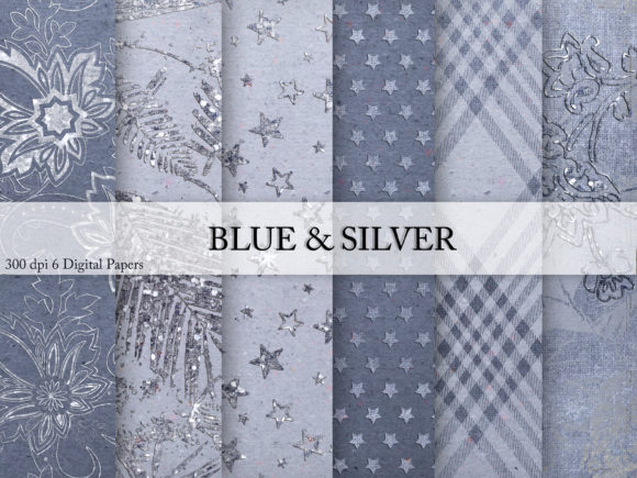 Print on Demand: Blue & Silver Digital Paper Graphic Textures By Creative Paper - Image 1
