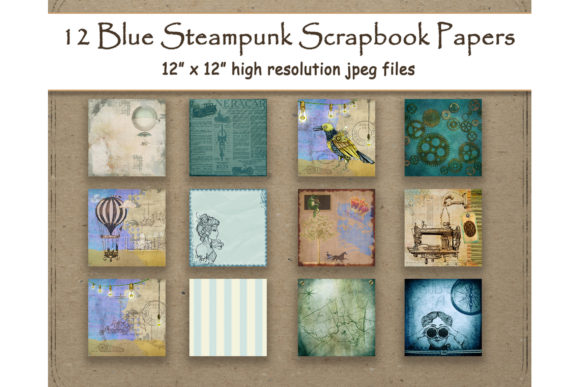 Blue Steampunk Digital Paper Scrapbook Gráfico Fondos Por DigitalPrintableMe