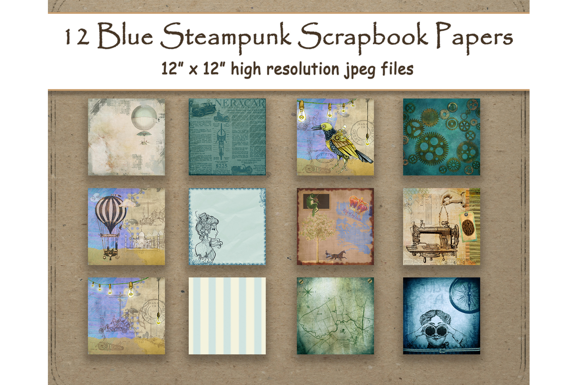 Download Free Blue Steampunk Digital Paper Scrapbook Graphic By for Cricut Explore, Silhouette and other cutting machines.