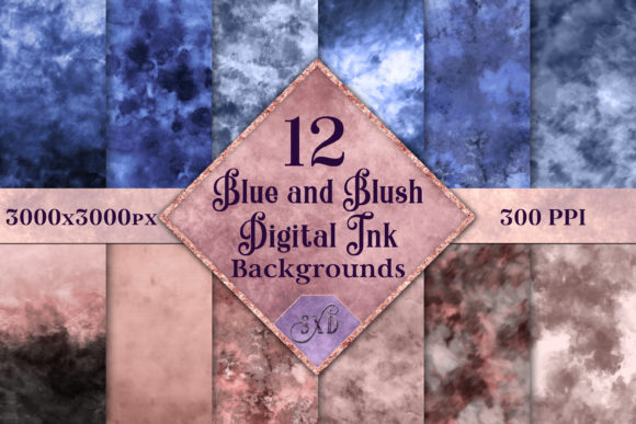 Print on Demand: Blue and Blush Digital Ink Backgrounds Graphic Backgrounds By SapphireXDesigns