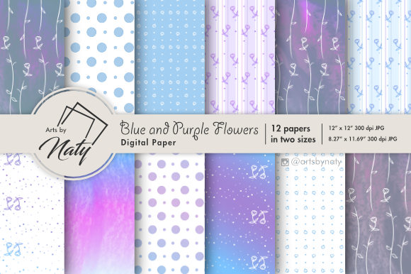 Print on Demand: Blue and Purple Flower Digital Paper Graphic Illustrations By artsbynaty