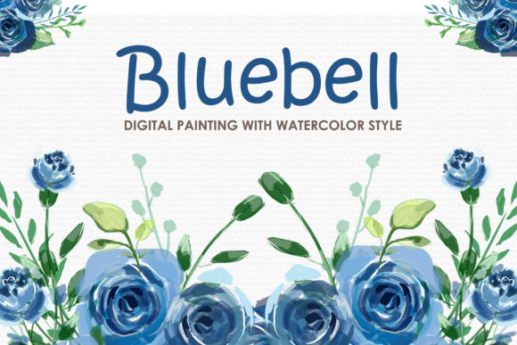Download Free Bluebell Watercolor Floral Style Clipart Graphic By Kagunan Arts for Cricut Explore, Silhouette and other cutting machines.