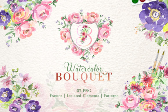 Print on Demand: Bouquet with Wildflowers Set Watercolor Graphic Illustrations By MyStocks