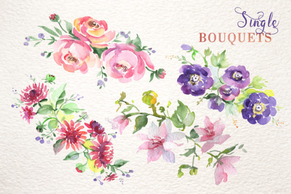 Print on Demand: Bouquet with Wildflowers Set Watercolor Graphic Illustrations By MyStocks - Image 8