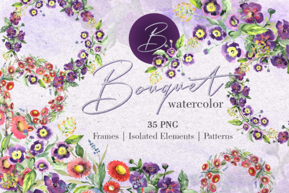 Print on Demand: Bouquet with Wildflowers Watercolor Png Graphic Illustrations By MyStocks - Image 1
