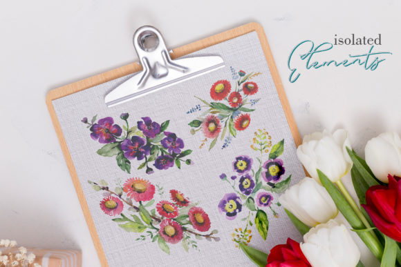 Print on Demand: Bouquet with Wildflowers Watercolor Png Graphic Illustrations By MyStocks - Image 7
