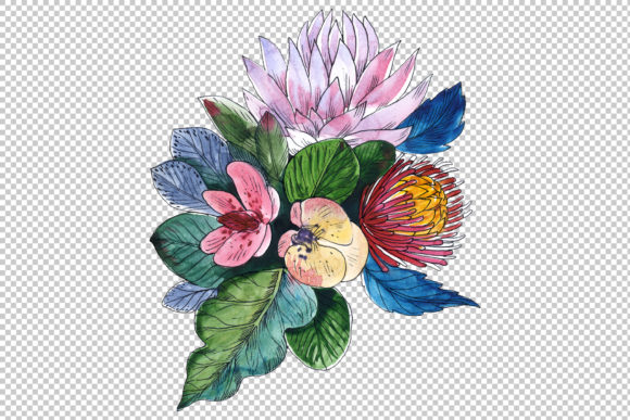 Print on Demand: Bouquets Wildflowers, Roses,leaves Graphic Illustrations By MyStocks - Image 3