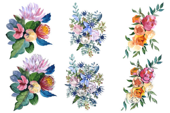 Print on Demand: Bouquets Wildflowers, Roses,leaves Graphic Illustrations By MyStocks - Image 1