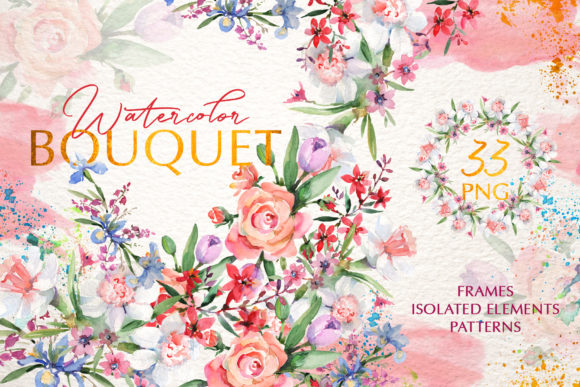 Print on Demand: Bouquets with Roses and Narcissus Pink Graphic Illustrations By MyStocks