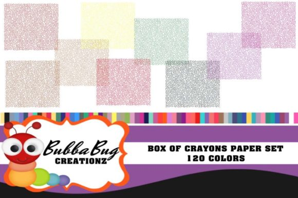 Box of Crayons Paper Set Graphic Backgrounds By BUBBABUG