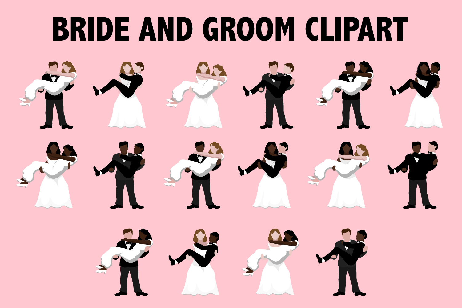 Download Free Bride And Groom Clipart Graphic By Mine Eyes Design Creative for Cricut Explore, Silhouette and other cutting machines.