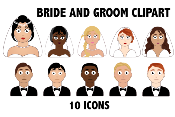 Print on Demand: Bride and Groom Graphic Illustrations By Mine Eyes Design